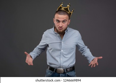 Aggressive man in the gold crown. solving questions