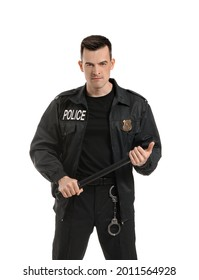 Aggressive police officer with baton on white background
