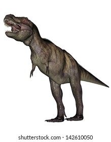 Aggressive tyrannosaurus rex with open mouth in white background