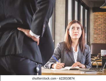 Aggressive/angry boss complaining asian business woman(casual uniform) in cafe office