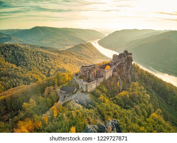 The Aggstein Castel over the Danube River in the Wachau valley