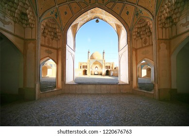"""Agha Bozorg Mosque"" in Kashan  View of the Dome and minarets of the from the inner courtyard Iran, Isfahan, Kashan"