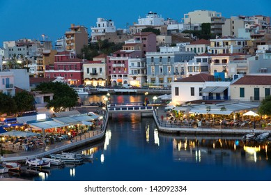 Aghios Nikolaos night view - picturesque town in the eastern of island Crete built on the northwest side of the peaceful bay of Mirabello