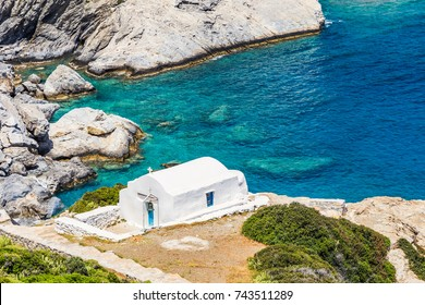 Agia Anna beach with its chapel on Amorgos island, Cyclades of Greece.