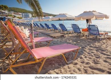 Agia Marina beach in Aegina Island in Greece
