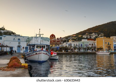 Agia Marina, Greece - March 25, 2017: Fishing boat in the port of Agia Marina village on Leros island in Greece early in the morning.