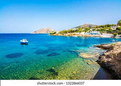 Agia Marina Village coastal view in Leros Island, Greece