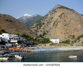 Agia Roumeli - small village in southwest Crete, Greece. Southern entrance to the Samaria Gorge. For most walkers, this is the exit of the Samaria Gorge