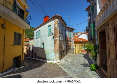 AGIASOS, LESVOS, GREECE - AUGUST 2017: The picturesque village of Agiasos located at the southern part of Lesvos island and famous for the picturesque buildings and paved narrow streets