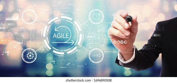 Agile concept with businessman on blurred abstract background