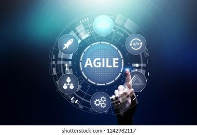 Agile development methodology concept on virtual screen. Technology concept.
