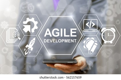Agile development software coding business web computer agility nimble quick fast start up concept