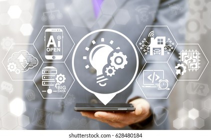 Agile Development software coding business web computer agility nimble fast start up concept. Quick engineering service flexible develop technology. Developer offers smartphone with bulb gears icon.