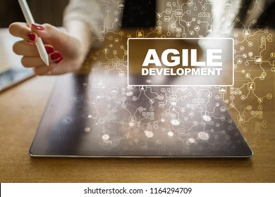 Agile software development principle. Pressing button on virtual screen. Internet and technology concept.