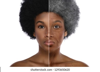 Aging concept. Comparison of young and elderly. African woman on white background.
