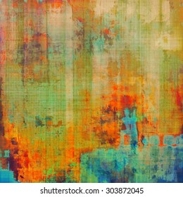 Aging grunge texture, old illustration. With different color patterns: yellow (beige); blue; red (orange); green