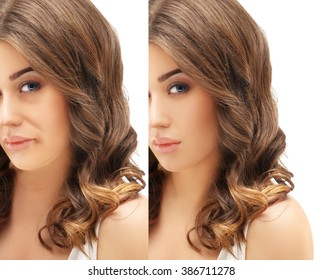 Aging. Mature woman-young woman.Face with skin problem .