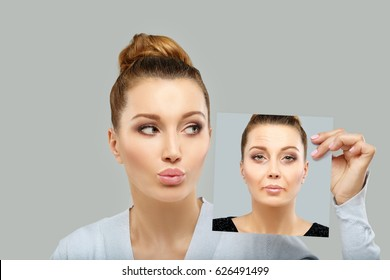 Aging. Mature woman-young woman.Face with skin problem