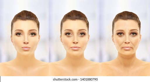 Aging process.Age changes.Aging.Woman of different ages-30,40,50,