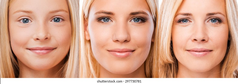 Aging process. Composition of three images with blond hair women of different ages looking at camera and smiling