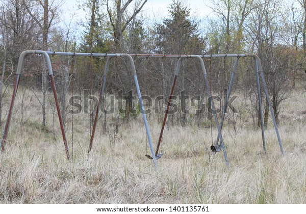 Aging Swing Set Nature Area Tall Stock Photo Edit Now