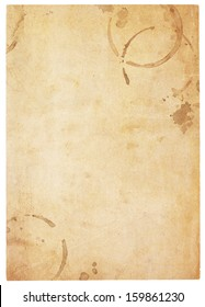 Aging, worn paper with coffee stains and rough edges. Blank with room for text or images. Isolated on White. Includes clipping path.