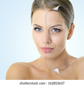 Aging and youth concept, beauty treatment, portrait of beautiful woman with problem and clean skin