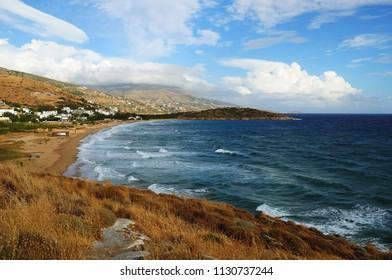 Agio Petro beach on Andros island Greece