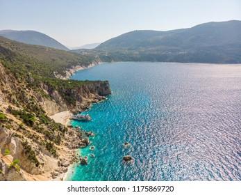 Agiofili beach on the Ionian sea, Lefkada island, Greece.