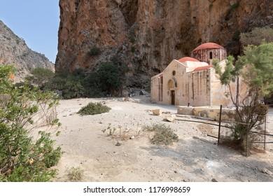 Agios Antonios church inside the Agiofarango canyon, island of Crete, Greece