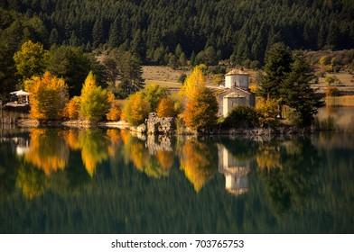 Agios Fanourios chapel in Doxa lake/ Reflexion in the lake
