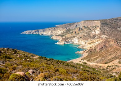 Agios Ioannis beach on the west coast of Melos island in Greece, which is accessible only by a 12 km gravel road.