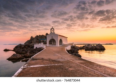 Agios Isidoros church in northern Chios at sunrise.