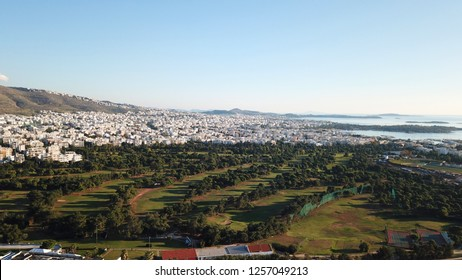 Agios Kosmas, Attica/ Greece: December 12 2018: Aerial drone photo of Glyfada golf course near old airport of Elliniko