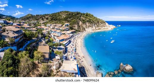 Agios Nikitas Beach in Lefkada island, Greece panoramic aerial v