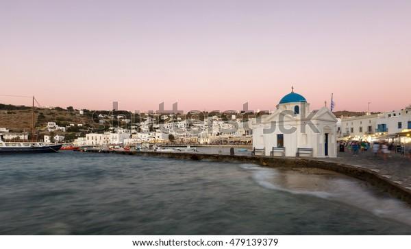 Agios Nikolaos church and old port of Mykonos at dawn