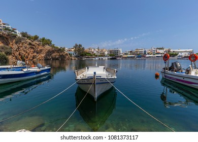 Agios Nikolaos, Crete/ Greece - May 1st 2018: view of the lake of Agios NIkolaos city at day light.