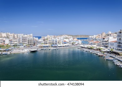 AGIOS NIKOLAOS, CRETE, GREECE - MAY 6, 2015: Seaside resort town of Agios Nikolaos located on the north-east side of Crete, Greece.