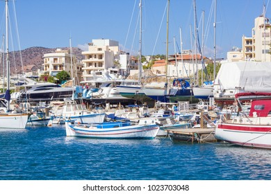 AGIOS NIKOLAOS, CRETE - OCTOBER 16: Boats in the harbor of Agios Nikolaos on October 16, 2017. Crete island, Greece.