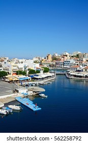 AGIOS NIKOLAOS, CRETE - SEPTEMBER 17, 2016 - Elevated view of the harbour and town, Agios Nikolaos, Crete, Greece, Europe, September 17, 2016.