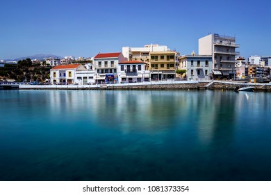 Agios NIkolaos, Crete/Greece - May 1rst 2018: View of buildings of the city of Agios Nikolaos Crete