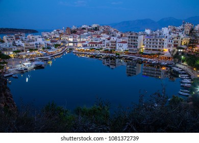 Agios Nikolaos, Crete/Greece - May 1st 2018: View of the Lake of Agios Nikolaos City