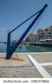 Agios Nikolaos, Crete/Greece - May 1st 2018 - View of ship crane at Agios Nikolaos City