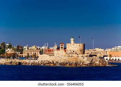 Agios Nikolaos fortress on the Mandraki harbour of Rhodes, Greece