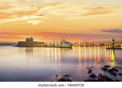 Agios Nikolaos fortress on the Mandraki harbour of Rhodes Greece