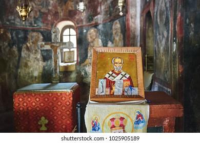 Agios Nikolaos icon in a Agios Nikolaos Fountoukli ancient greek church at Rhodes island
