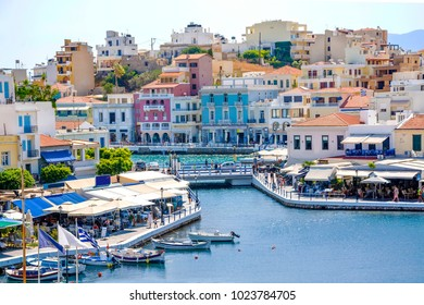 Agios Nikolaos picturesque town with colorful buildings on the island of Crete, Lasithi, Greece