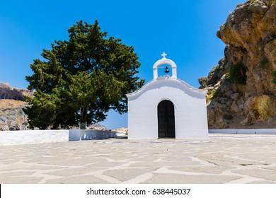 Agios Pavlos chapel. A chapel inside the St paul bay. Near the historic place Lindos on the island Rhodes, Greece.