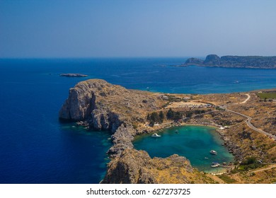 Agios Pavlos Lindos Beach at Rhodes Island (Rodos) Aegean Region, Greece