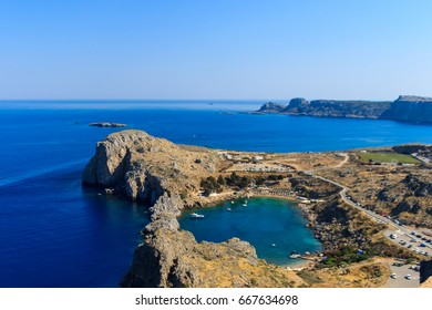 Agios Pavlos Lindos Beach at Rhodes Island. Rodos, Aegean Region, Greece. Landscape.